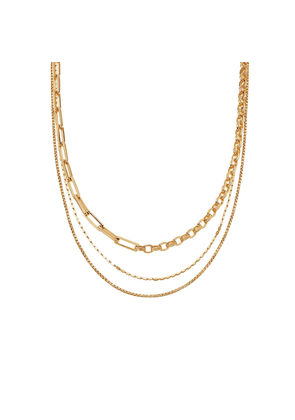 Gold Deconstructed Axiom & Box Link Chain Necklace Set