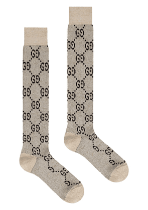 Gucci GG monogram socks - NEUTRALS