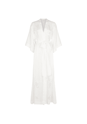 Carine Gilson Silk Lace Trim Long Robe