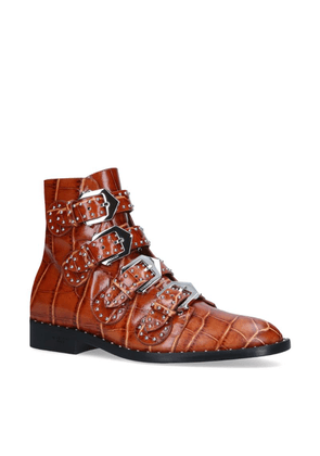 Givenchy Croc-Embossed Biker Boots