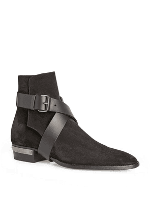 Balmain Suede Buckle Ankle Boots