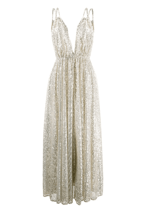 Amen sequined v-neck gown - SILVER
