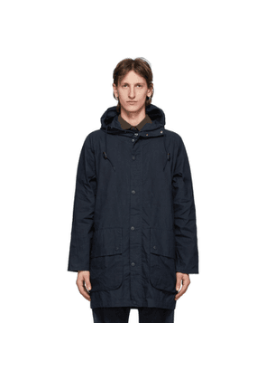 Barbour Navy Oversize Hooded Bedale Casual Coat