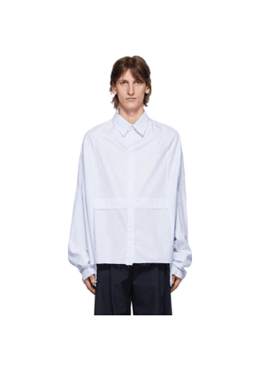 Camiel Fortgens White and Blue Striped Dropped Shirt