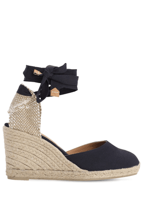 80mm Carina Cotton Espadrille Wedges