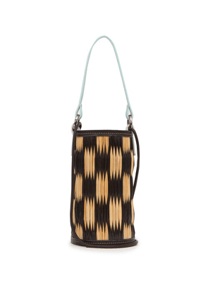 Heimat Atlantica - Cupid Mini Leather-trimmed Woven-reed Bucket Bag - Womens - Black Multi