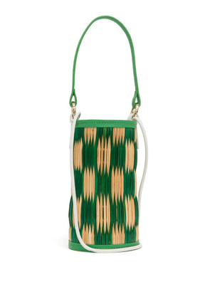 Heimat Atlantica - Cupid Mini Leather-trimmed Woven-reed Bucket Bag - Womens - Green Multi