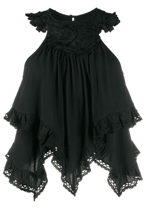 Isabel Marant floral embroidered layered top - Black