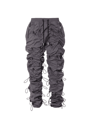 99%IS- - Gobchang Slim-fit Tapered Toggled Shell Drawstring Trousers - Gray