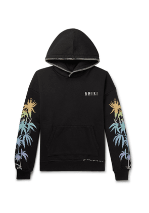 AMIRI - Oversized Embroidered Printed Cotton-Jersey Hoodie - Men - Black