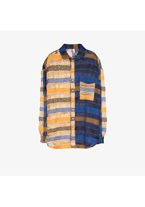 Bethany Williams Mens Blue Handwoven Colour Block Shirt