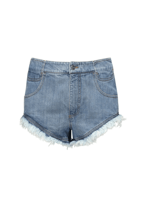 Raw Cut Cotton Denim Shorts