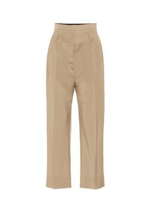 Double-waist mohair and wool pants