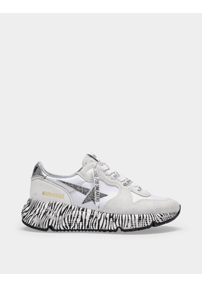 Running Sole Sneakers in White Leather, Zebra Sole and Glitter Star