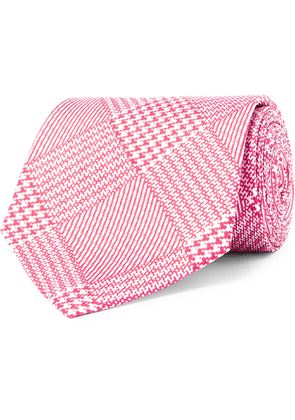 Emma Willis - 8.5cm Prince Of Wales Checked Silk-jacquard Tie - Pink
