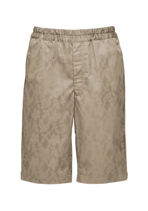 Stencil Print Cotton Twill Shorts