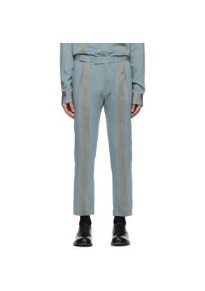 Ann Demeulemeester Blue and Gold Naval Trousers