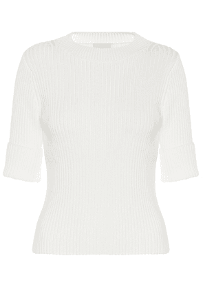 Ribbed-knit cotton-blend top