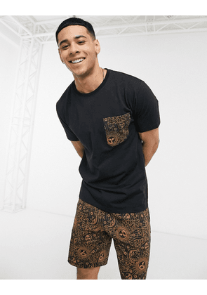 ASOS DESIGN lounge short and t-shirt set with celestial design and branded waistband-Black