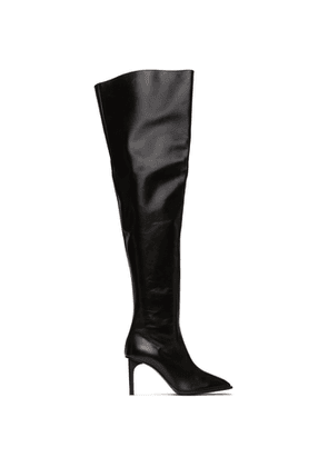 Dion Lee Black Thigh High Square Toe Boots