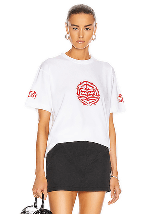 VETEMENTS Longevity Tee in White - White,Abstract. Size L (also in S,XS).