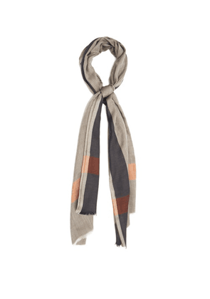 Begg & Co. - Wispy Striped Lightweight-cashmere Scarf - Mens - Brown Multi