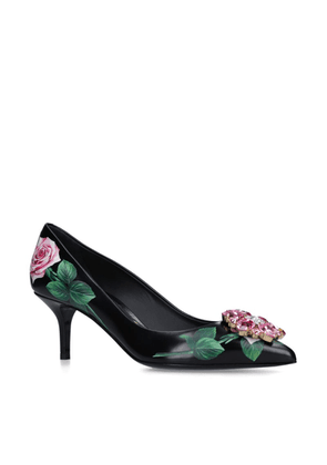 Dolce & Gabbana Leather Tropical Rose Pumps 60