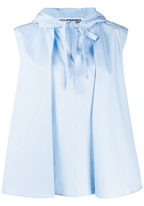 Courrèges sleeveless hooded blouse - Blue