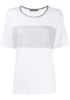 D.Exterior metallic embroidered T-shirt - White