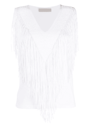 D.Exterior fringed knit top - White