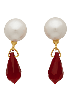 Undercover White and Red Pearl and Jewel Earrings