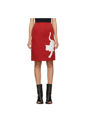 Undercover Red Cat Pencil Skirt