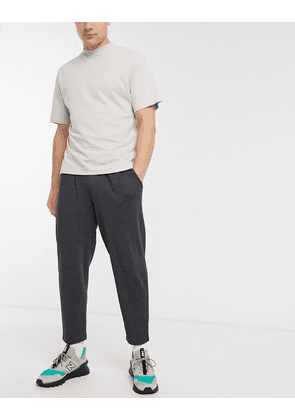 ASOS DESIGN organic tapered joggers with pleats in charcoal-Grey