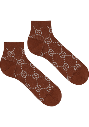 Gucci GG embroidered socks - Brown