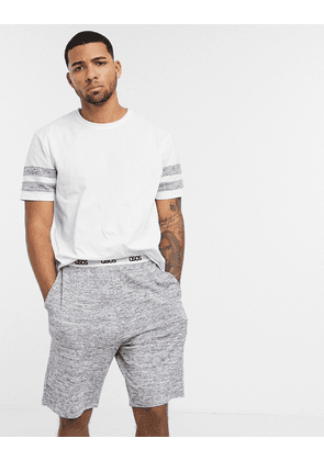 ASOS DESIGN lounge short and t-shirt set with cut and sew marl panels and branded waistband-White