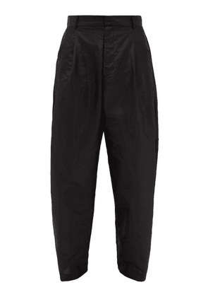 Edward Crutchley - Pleated Silk-satin Wide-leg Trousers - Mens - Black