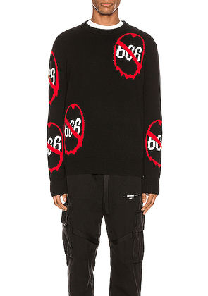 Who Decides War by Ev Bravado Anti 666 Knit Pullover in Black - Abstract,Black,Red. Size L (also in S).