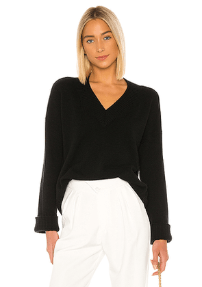 Autumn Cashmere Boxy V Wide Sleeve Sweater in Black. Size XS.