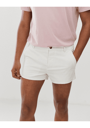 ASOS DESIGN skinny shorter chino shorts in off white