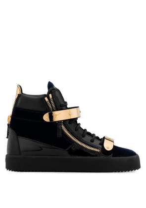 Giuseppe Zanotti - Velvet and patent leather high-top sneaker COBY
