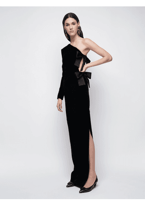 One Shoulder Velvet Long Dress