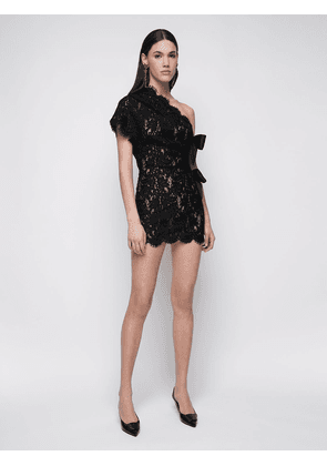 Sheer Lace One-shoulder Mini Dress