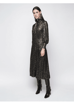 Leopard Devoré Georgette Shirt Dress