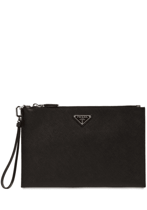 Logo Saffiano Leather Pouch