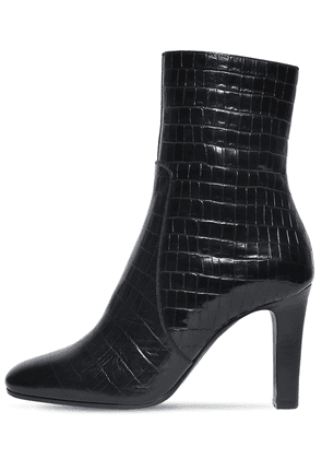 90mm Jane Croc Embossed Leather Boots
