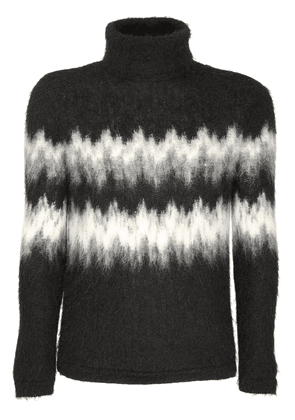 Intarsia Mohair Blend Turtleneck Sweater