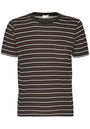 Striped Logo Embroidery Cotton T-shirt