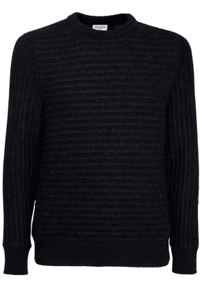 Striped Jacquard Knit Wool Blend Sweater