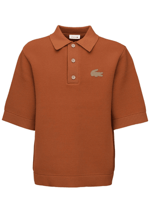 Logo Patch Cotton Blend Polo Shirt