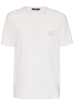Cotton T-shirt W/ D&g Plaque